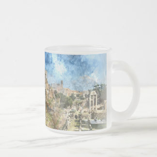 Ruins in Rome Frosted Glass Coffee Mug