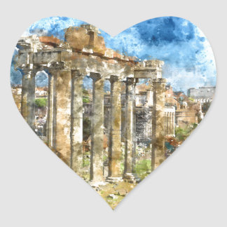 Ruins in Rome Heart Sticker