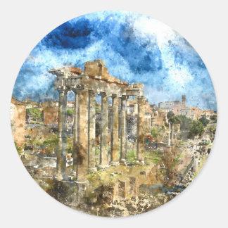 Ruins in Rome Round Sticker