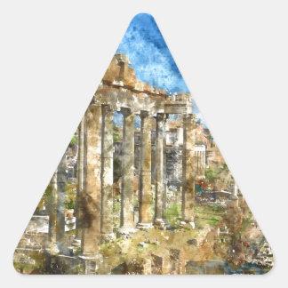 Ruins in Rome Triangle Sticker