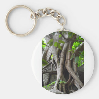 Ruins of a temple lost in a lush jungle basic round button keychain