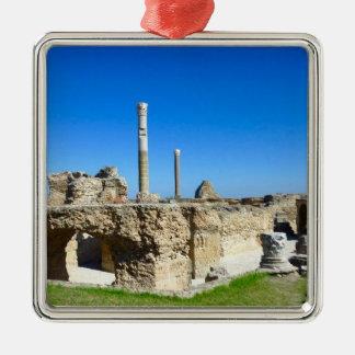 Ruins of Carthage Silver-Colored Square Ornament