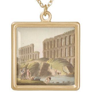 Ruins of the Grand Aqueduct of Ancient Carthage, p Gold Plated Necklace