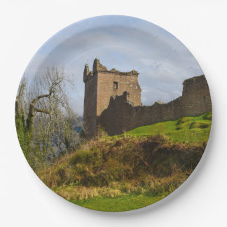 Ruins of Urquhart Castle along Loch Ness, Scotland 9 Inch Paper Plate