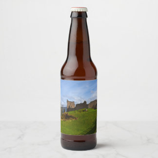 Ruins of Urquhart Castle along Loch Ness, Scotland Beer Bottle Label