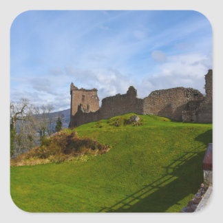 Ruins of Urquhart Castle along Loch Ness, Scotland Square Sticker