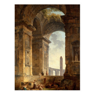 Ruins with an obelisk in the distance by Hubert Postcard