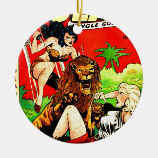 Rulah and a Big Scary Lion Ceramic Ornament