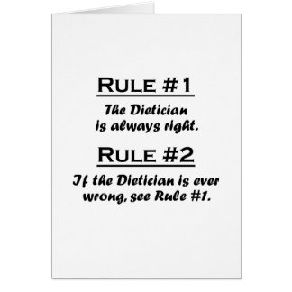 Rule Dietician Note Card