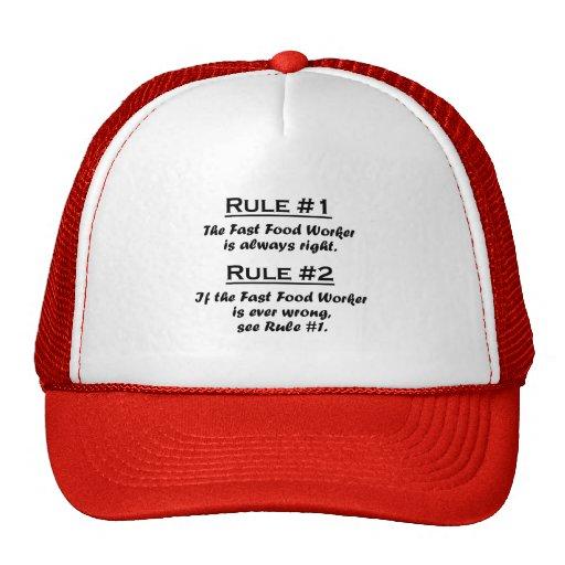 Rule Fast Food Worker Trucker Hat