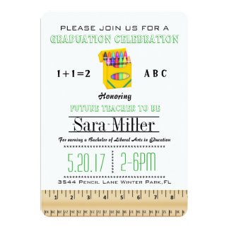 Ruler & Crayon  Teacher Graduation Invitation