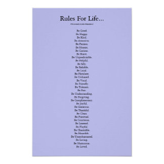 'Rules For Life...' - Blue Poster