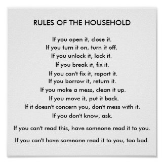Rules of the household poster