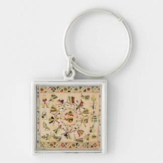 Rumal: square embroidery cover showing Punjabi dan Key Chains
