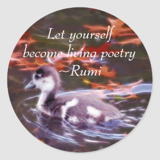 Rumi become living poetry classic round sticker