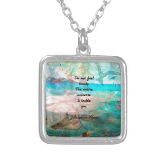 Rumi Inspiration Quote About The Universe Silver Plated Necklace