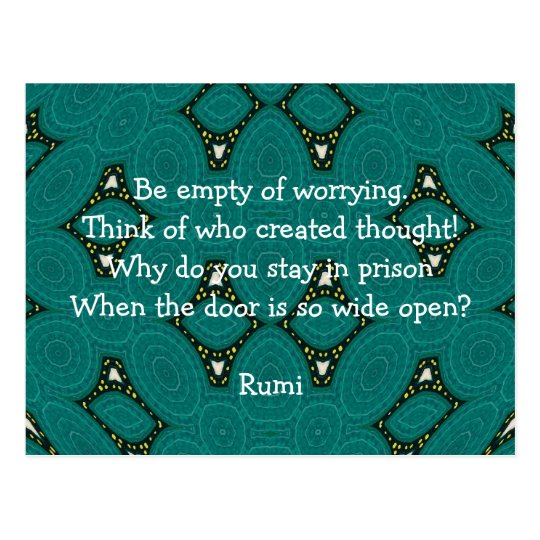 Rumi Inspirational quote With Tribal Design Postcard