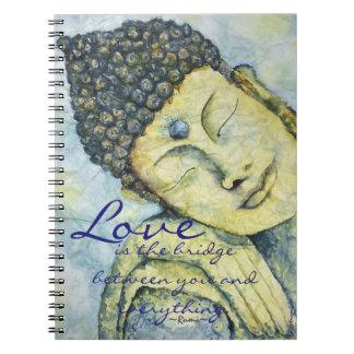 Rumi Love Quote Buddha Art journal Notebook