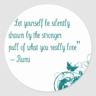 Rumi love quote classic round sticker