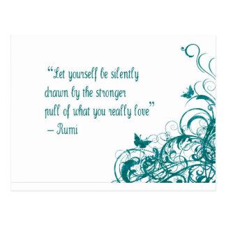 Rumi love quote postcard