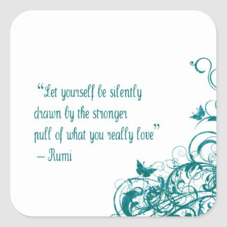 Rumi love quote square sticker