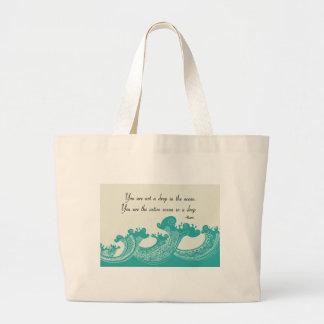 Rumi Ocean quote Large Tote Bag