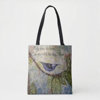 Rumi Quote Bird Watercolor Art Tote