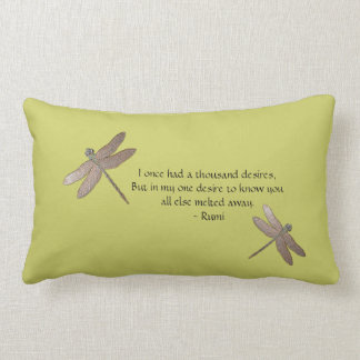 Rumi Quote & Dragonfly Throw Pillow