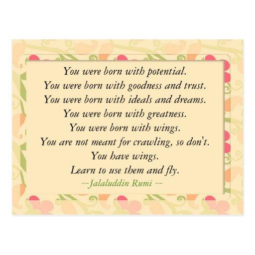 Rumi Quote Inspirational Motivational Postcard