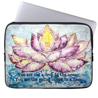 Rumi Quote Lotus Watercolor Art Laptop Sleeve