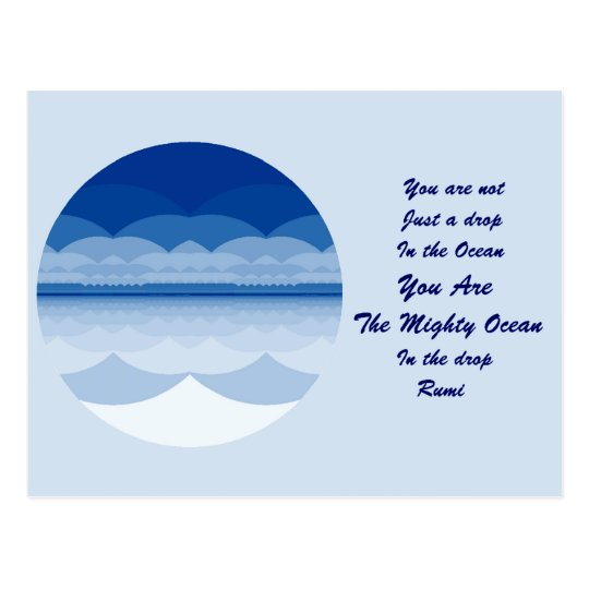 Rumi Quote Postcard. Ocean Mandala Design Postcard