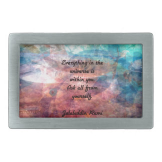 Rumi Uplifting Quote About Energy And Universe Rectangular Belt Buckle