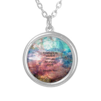 Rumi Uplifting Quote About Energy And Universe Silver Plated Necklace