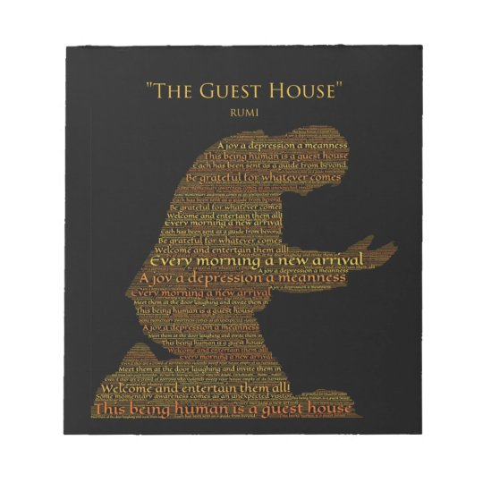 """Rumi's """"The Guest House"""" Poem Tile Notepad"""