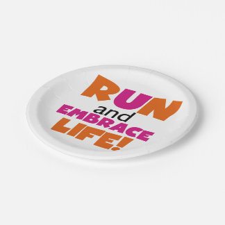 Run and Embrace Life Orange Pink Paper Plate