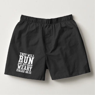 Run and Not Grow Weary Christian Bible Running Boxers