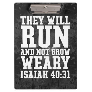 Run and Not Grow Weary Christian Bible Running Clipboard