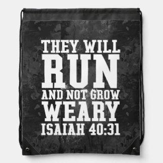 Run and Not Grow Weary Christian Bible Running Drawstring Bag