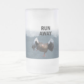 Run away frosted glass beer mug