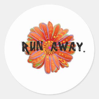 Run Away vibrant hippie/boho print || AKASHAIC Round Sticker