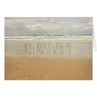 Run Away With Me Sand Sea Beach Wave Vintage Paper Card
