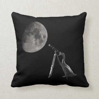 Run duck observes the moon throw pillow
