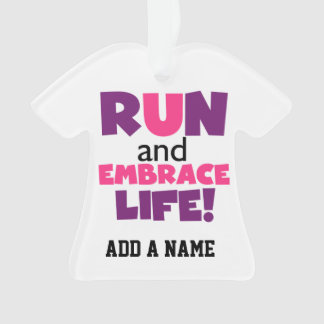 Run Embrace Life Purple Pink Ornament