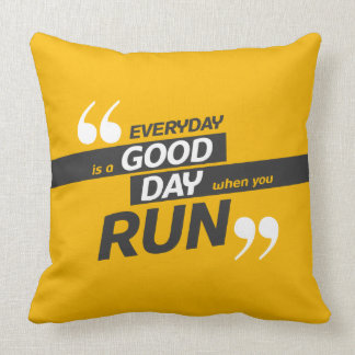 Run Everyday | Quote Polyester Throw Pillow