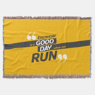 Run Everyday | Quote Throw Blanket