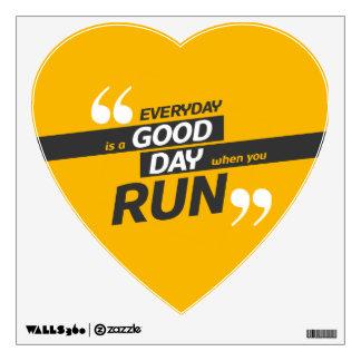 Run Everyday Wall Decal, Heart Wall Sticker