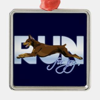Run for Joy, Red Doberman Metal Ornament