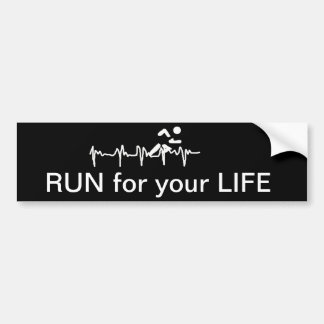 Run for Your Life Running Heart Rate Design Bumper Sticker