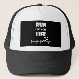 Run for Your Life Running Heart Rate Design Trucker Hat