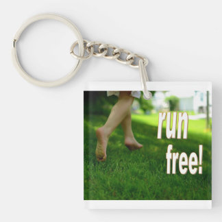 run free barefoot key chain